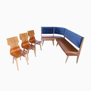 Mid-Century Bench and Chairs Set, Set of 4