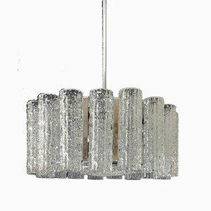 Lámpara de araña de plata y vidrio esmerilado de JT Kalmar para Kalmar, años 70