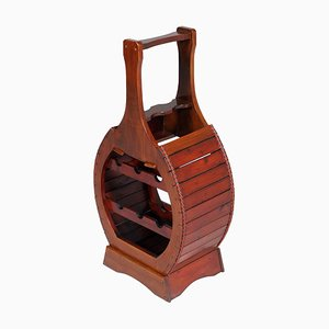 Vintage Italian Wood Wine Bottle Holder, 1940s