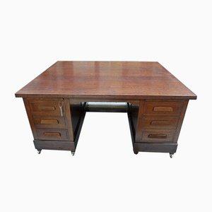 Antiker Eichenholz Partner Schreibtisch
