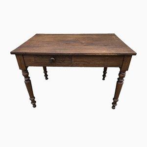Table de Ferme Antique en Chêne avec Tiroir