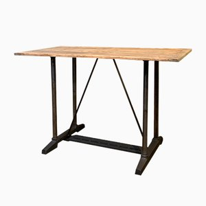 Industrial Metal and Wooden Dining Table, 1950s