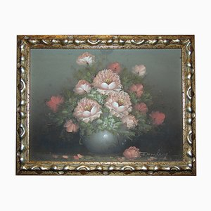 Pintura al óleo Still Life with Flowers de Domberg, años 70