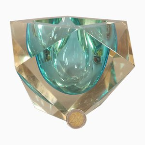 Large Faceted Murano Glass Sommerso Bowl by Flavio Poli, 1950s