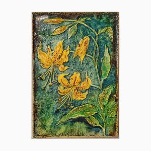 Nr. 7339 Lillium Citronella Botanical Wall Tile by Werner Meschede for Karlsruher Majolika, 1970s