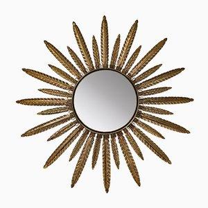 Espejo en forma de sol vintage de latón, años 60