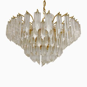 Vintage Brass and Crystal Chandelier by Paolo Venini for Novaresi, 1970s