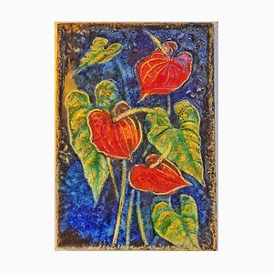 Nr. 7513 Anthurium Botanical Wall Tile by Werner Meschede for Karlsruher Majolika, 1970s