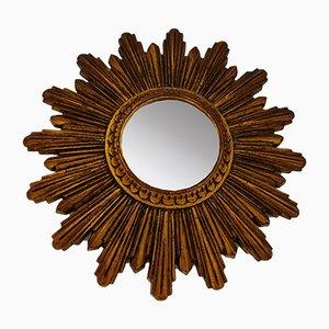 Espejo Mid-Century dorado en forma de sol, años 60