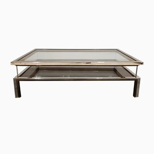 Vintage Brass and Chrome Sliding Top Coffee Table from Belgo Chrom / Dewulf Selection, 1970s