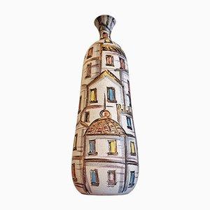 Vaso Bottle Mid-Century con decorazione floreale di Fratelli Fanciullacci
