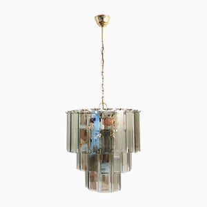 Vintage Round Ceiling Lamp with Rectangular Smoked Glass