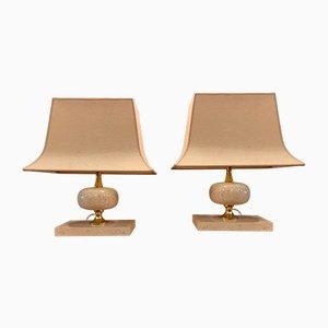 Lampade da tavolo vintage in ottone e travertino di Philippe Barbier, anni '70, set di 2
