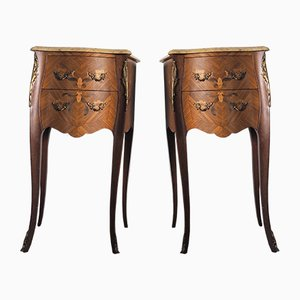 Mid-Century French Nightstands with Marble Tops, Set of 2