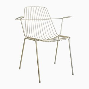 Vintage White Painted Steel Wire Garden Chair from Mauser Werke Waldeck, 1960s