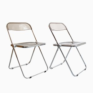 Vintage Plia Folding Chairs by Giancarlo Piretti for Castelli / Anonima Castelli, 1960s, Set of 2