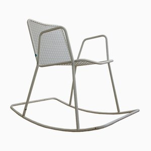 Vintage Tubular Steel and Wire Mesh Garden Rocking Chair from Drahtwerke Erlau, 1970s