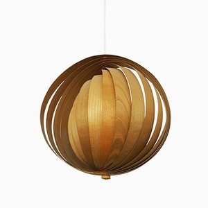 Lampe à Suspension Moon en Bois, 1960s
