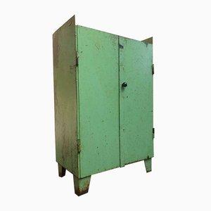 Industrial Green Compartment 2-Door Cupboard, 1950s