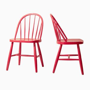 Scandinavian Painted Wood Windsor Dining Chairs, 1960s, Set of 2
