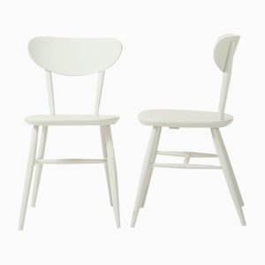 Scandinavian Painted Wood Dining Chairs, 1960s, Set of 2