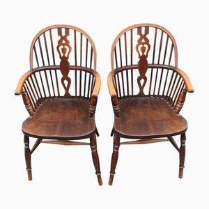 Chaises de Campagne Carver Vintage en Chêne, 1920s, Set de 2
