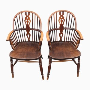 Vintage Oak Carver Country Chairs, 1920s, Set of 2