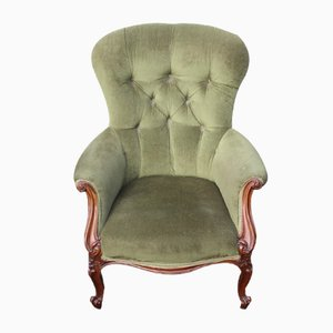 Antique Mahogany Buttoned Back Daddy Armchair, 1900s