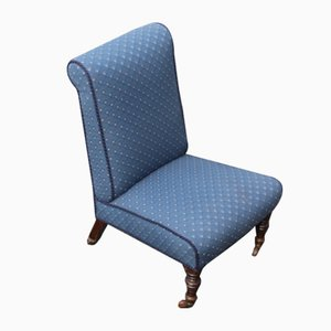 Antique Mahogany and Blue Spot Fabric Nursing Chair, 1940s