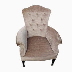 Antique Mahogany and Neutral Tones Fabric Armchair, 1960s