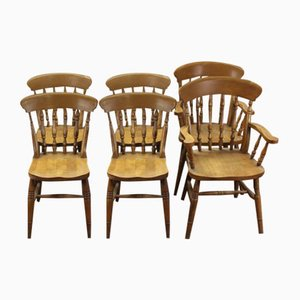 Beech Country Dining Chairs, 1920s, Set of 6