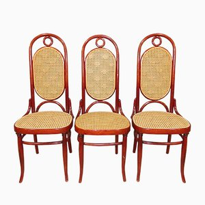 Mid-Century Bentwood and Wicker Dining Chairs, Set of 3
