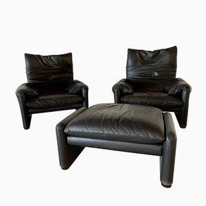 Vintage Maralunga Lounge Chairs by Vico Magistretti for Cassina, Set of 3