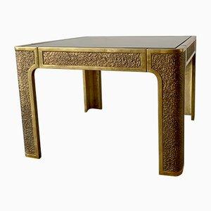 Tavolino brutalista vintage in ottone di Peter Ghyczy