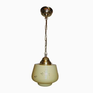 Vintage Art Deco Brass Pendant Lamp