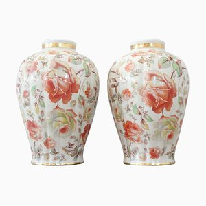 Hand Painted Porcelain Vase by Thomas Ivory Bavaria, 1940s, Set of 2