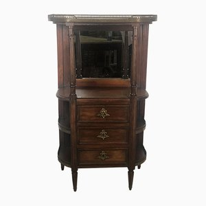 Louis XV Style Cabinet with Marble Top and Brass Gallery, 1920s