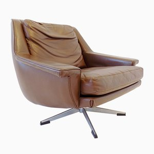 Brown Leather Model 802 Lounge Chairs by Werner Langenfeld for ESA, 1960s, Set of 2