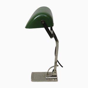 Lampe de Banquier Antique Art Nouveau en Nickel Plaqué avec Abat-Jour Émaillé