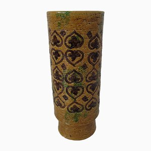 Italian Yellow and Green Ceramic Spagnolo Vase by Aldo Londi for Bitossi, 1960s