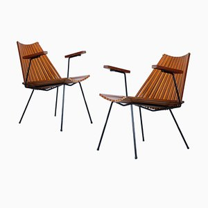 Slatted Teak Birch Nr. 220 Lounge Chairs by Dirk van Sliedregt for Rohé Noordwolde, 1960s, Set of 2
