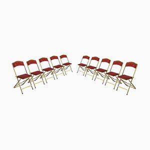 Folding Chairs in Gilt Metal & Red Fabric, France, 1970s, Set of 10
