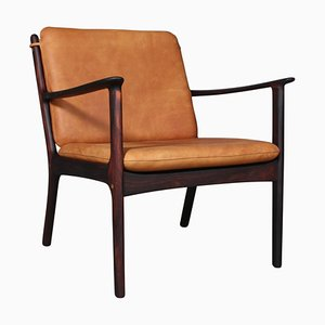 Mid-Century Rosewood Model PJ112 Lounge Chair by Ole Wanscher for Poul Jeppesen