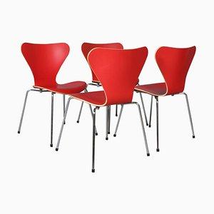 Mid-Century Esszimmerstühle von Arne Jacobsen für Fritz Hansen, 4er Set
