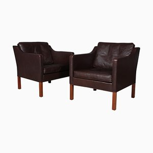 Dark Brown Leather Model 2421 Lounge Chairs by Børge Mogensen for Fredericia, 1960s, Set of 2