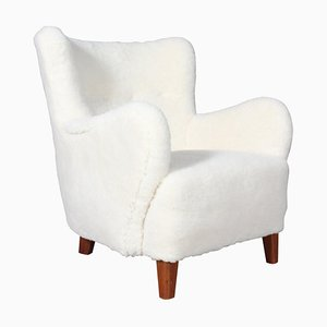 Danish Lamb Wool, Lounge Chair, 1940s