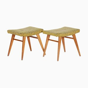 Mid-Century Yellow Green Oak Stools, 1960s, Set of 2