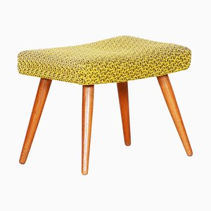Mid-Century Yellow Green Oak Stool, 1960s