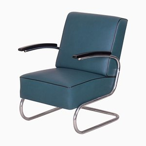 Art Deco Chrome & Blue Leather Tubular Steel Cantilever Armchair, 1930s