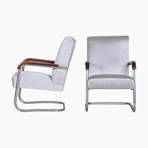 Grey Tubular Armchairs by Anton Lorenz for Thonet, 1930s, Set of 2